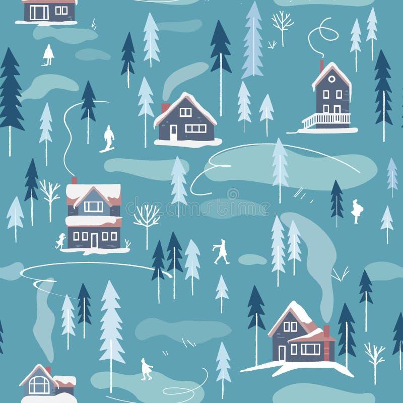Modèle sans couture de vecteur neigeux de paysage d'hiver illustration de vecteur