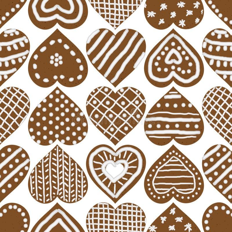 Modèle sans couture de vecteur de Noël avec les biscuits glacés de coeur de pain d'épice illustration libre de droits