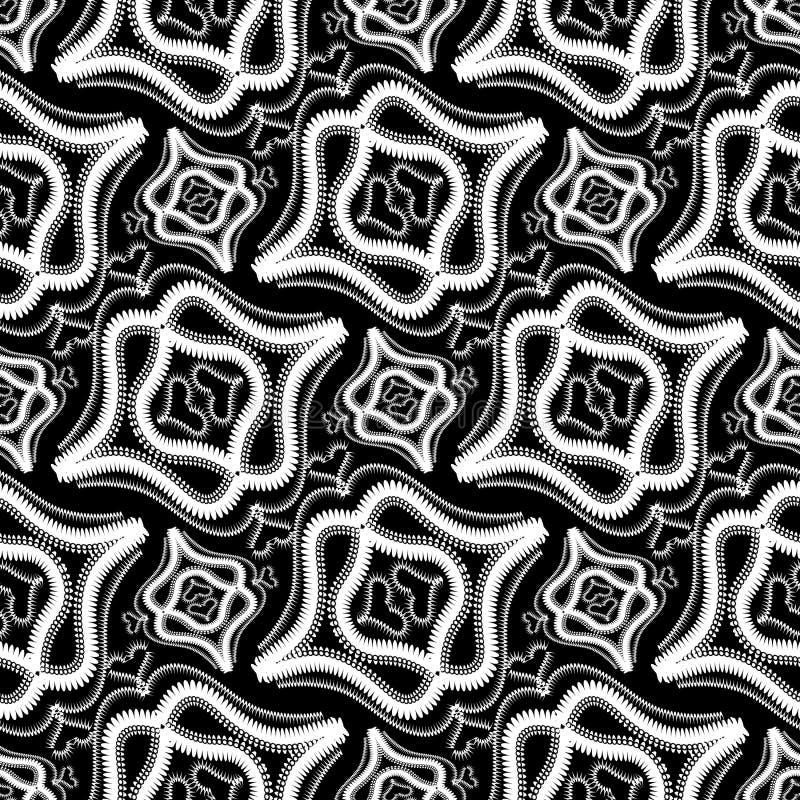 Modèle sans couture de vecteur noir et blanc abstrait de vintage Orname illustration libre de droits