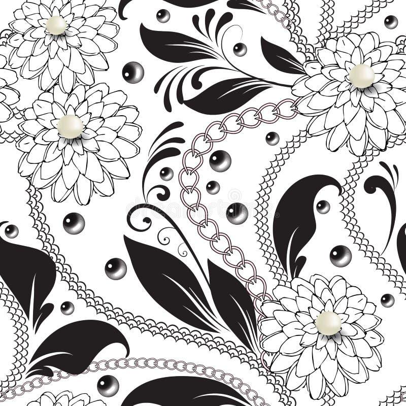 Modèle sans couture de vecteur noir et blanc floral ornemental Perles 3d blanches extérieures Lacez les lignes, chaînes, perles,  illustration stock