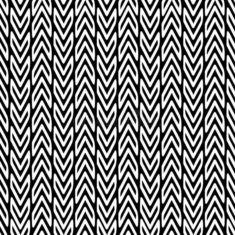 Modèle sans couture de vecteur noir et blanc de zigzag Triba ornemental illustration de vecteur