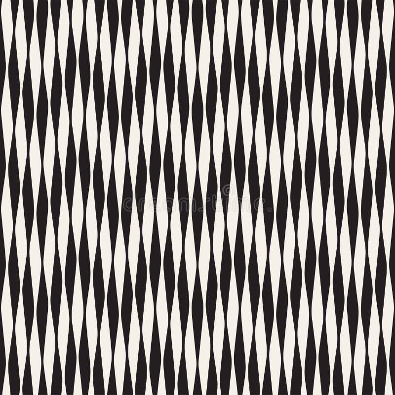 Modèle sans couture de vecteur onduleux de rayures Rétro texture onduleuse de gravure Lignes géométriques conception de zigzag n illustration libre de droits