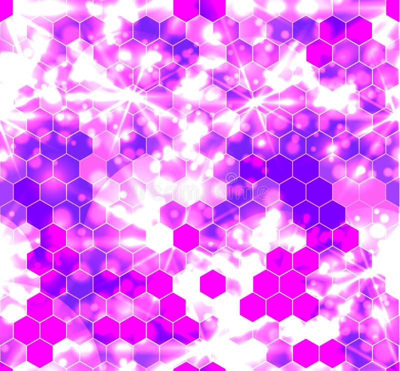 Modèle sans couture de vecteur : Ornement coloré de Geomentic d'hexagones, effet d'éclat illustration libre de droits