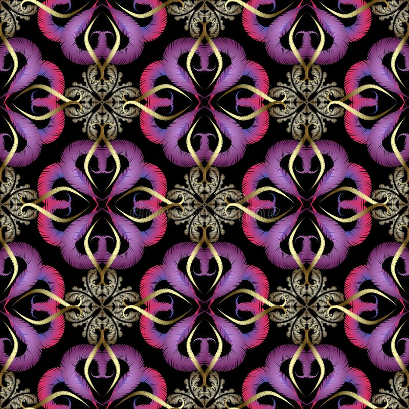 Modèle sans couture de vecteur ornemental de broderie Fond grunge floral color? Papier peint de tapisserie Fleurs de damassé d'Ar illustration stock