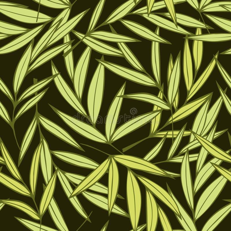 Modèle sans couture de vecteur de palmettes élégantes tirées par la main vertes tropicales illustration de vecteur