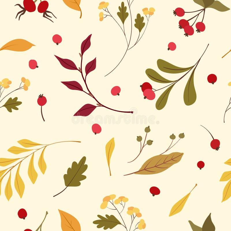 Modèle sans couture de vecteur plat d'humeur d'automne illustration de vecteur
