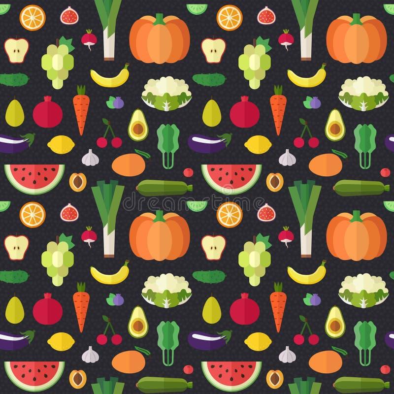 Modèle sans couture de vecteur plat de fruits et légumes Partie une illustration stock