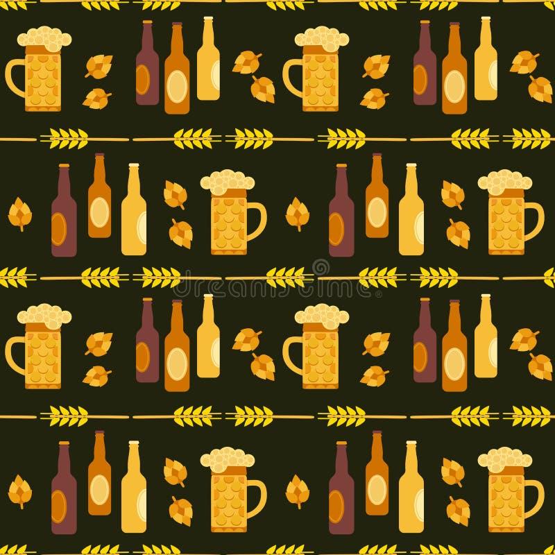Modèle sans couture de vecteur plat tiré par la main de couleur de Fest de bière illustration libre de droits