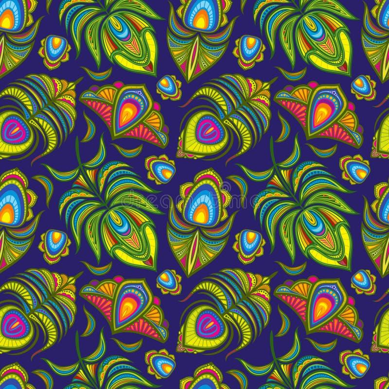 Modèle sans couture de vecteur de plume de paon illustration stock