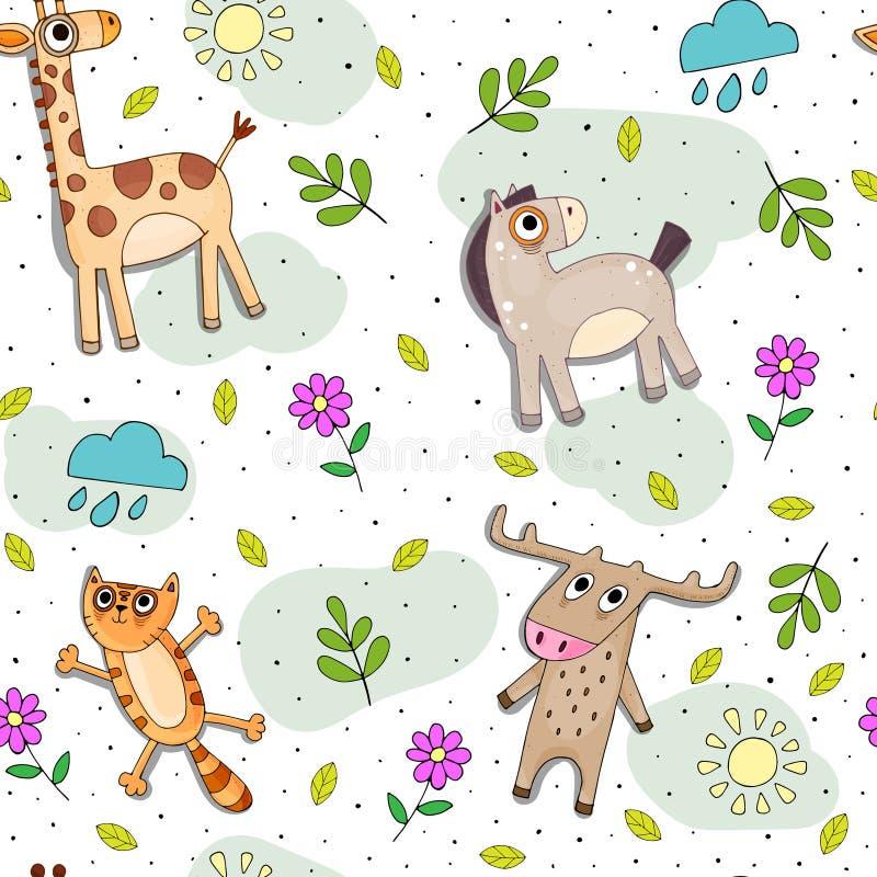 Modèle sans couture de vecteur puéril de bande dessinée avec les animaux mignons de couleur et les éléments décoratifs illustration de vecteur