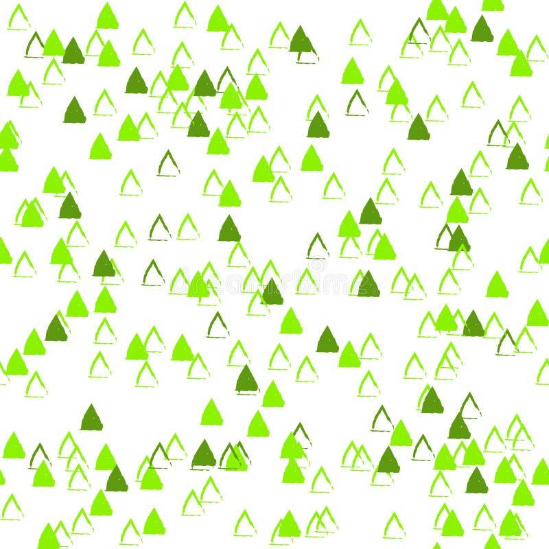 Modèle sans couture de vecteur de résumé avec les triangles chaotiques Contexte neutre classique Deltas verts dessus aléatoiremen illustration libre de droits