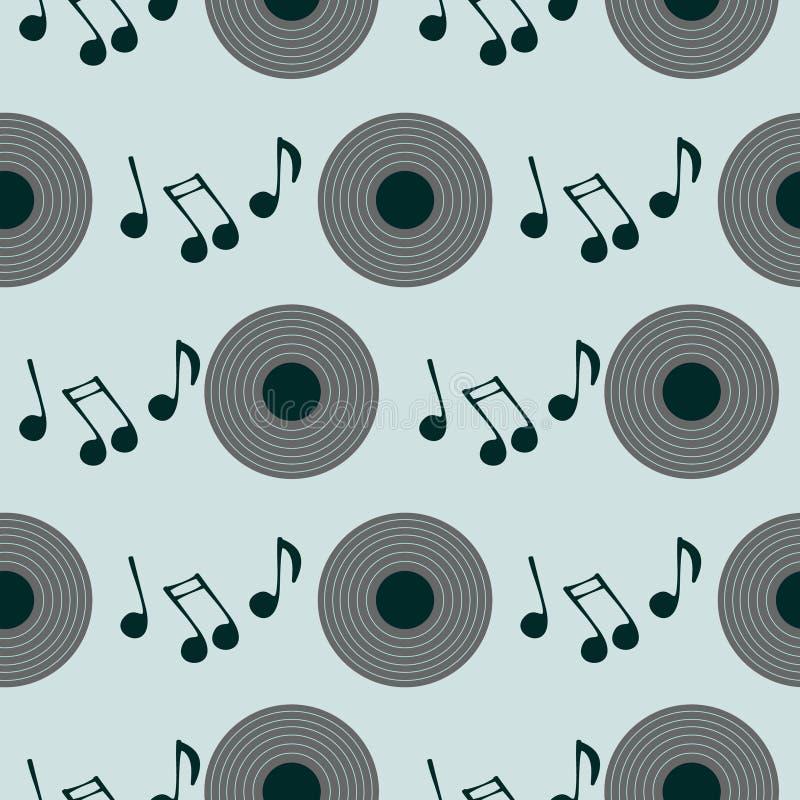 Modèle sans couture de vecteur, rétro fond avec le plat de musique et notes illustration stock