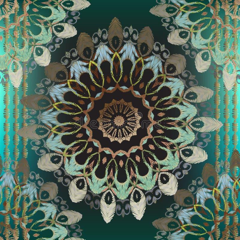 Modèle sans couture de vecteur rayé ornemental de broderie Fond rougeoyant floral de tapisserie Fleurs brodées grunges d'arabesqu illustration libre de droits