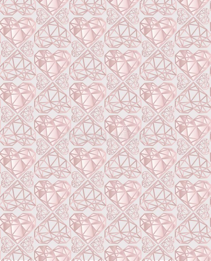 Modèle sans couture de vecteur de rose de luxe et de coeur gris-clair de diamant illustration de vecteur