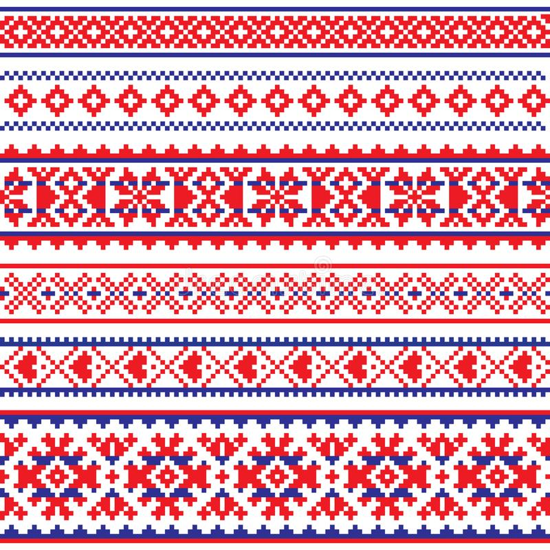 Modèle sans couture de vecteur de Sami, art populaire de la Laponie, tricotage traditionnel et conception de broderie illustration stock