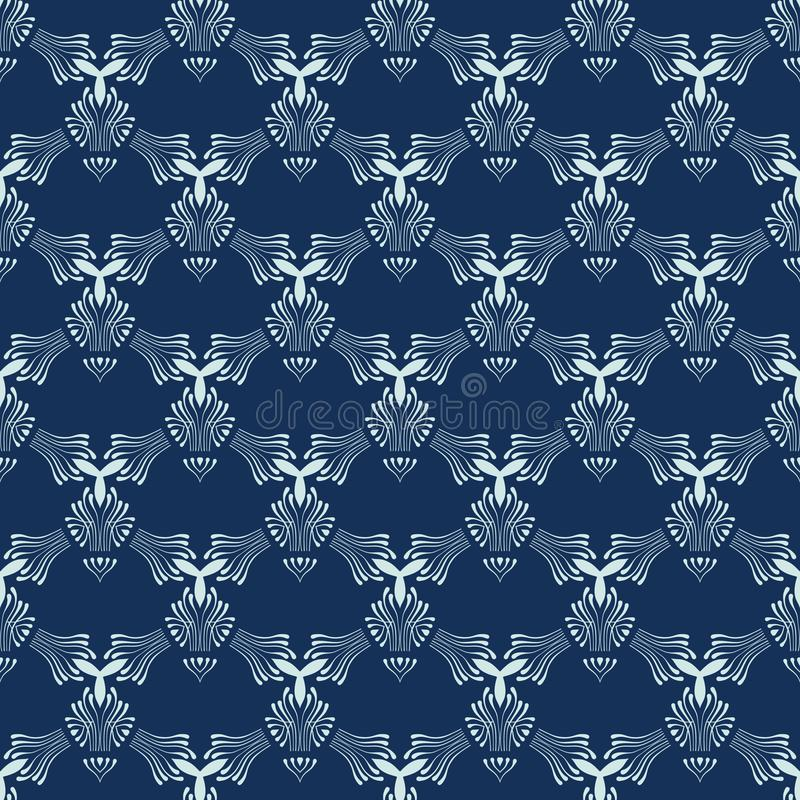 Modèle sans couture de vecteur de Sashiko de bleu d'indigo Style japonais tiré par la main illustration de vecteur