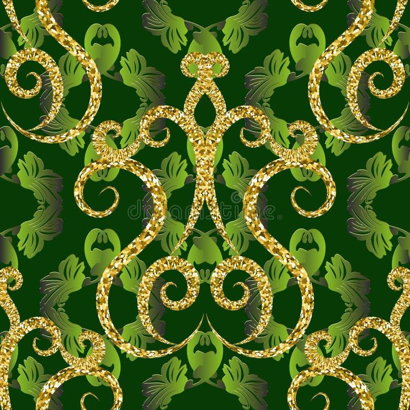 Modèle sans couture de vecteur scintillant du cru 3d d'or Fond floral ornemental vert-foncé Contexte feuillu de répétition de sty illustration de vecteur