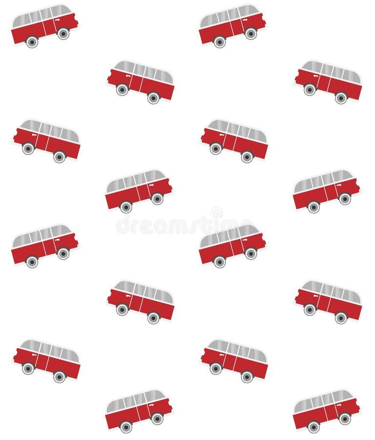 Modèle sans couture de vecteur de surf van bus plat rouge illustration libre de droits