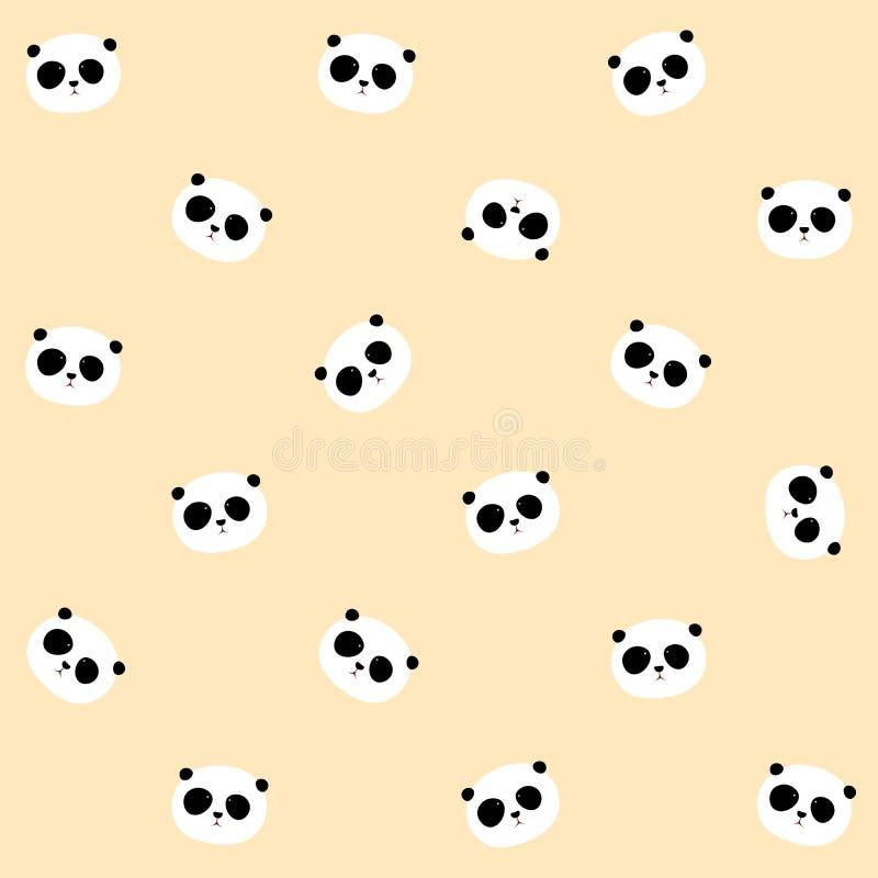Modèle sans couture de vecteur : Modèle de tête/visage de panda illustration stock