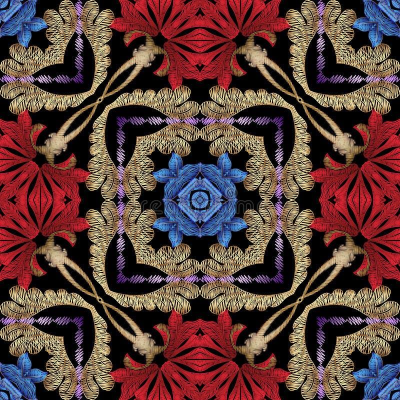 Modèle sans couture de vecteur texturisé ethnique floral coloré de style Fond ornemental de broderie Contexte grunge de répétitio illustration stock