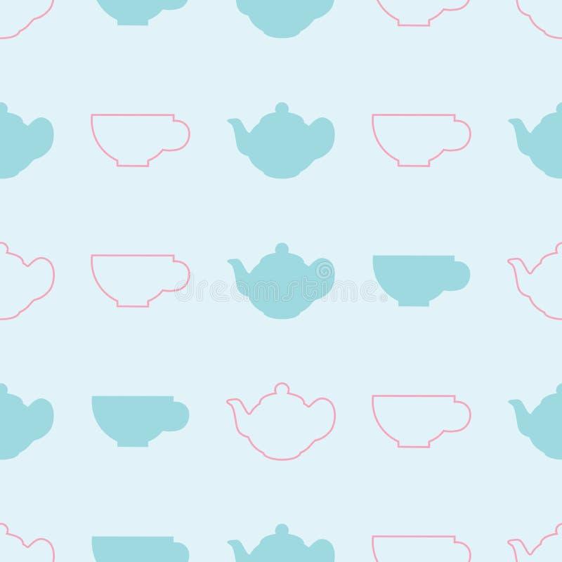 Modèle sans couture de vecteur de théière et de tasse de couleur en pastel illustration stock