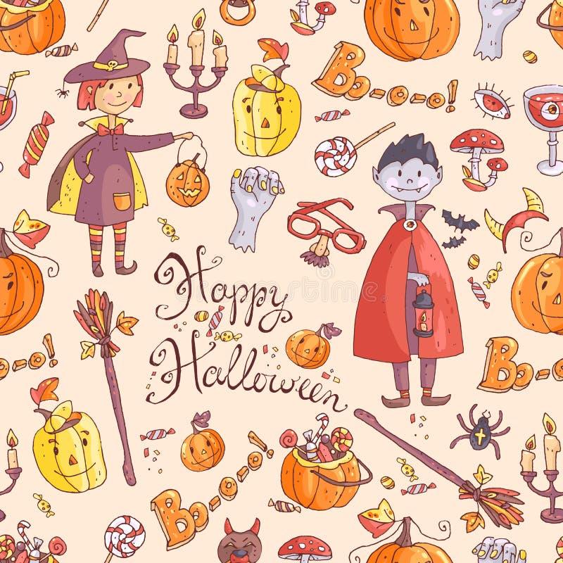 Modèle sans couture de vecteur tiré par la main de griffonnage avec l'élément de Halloween illustration libre de droits