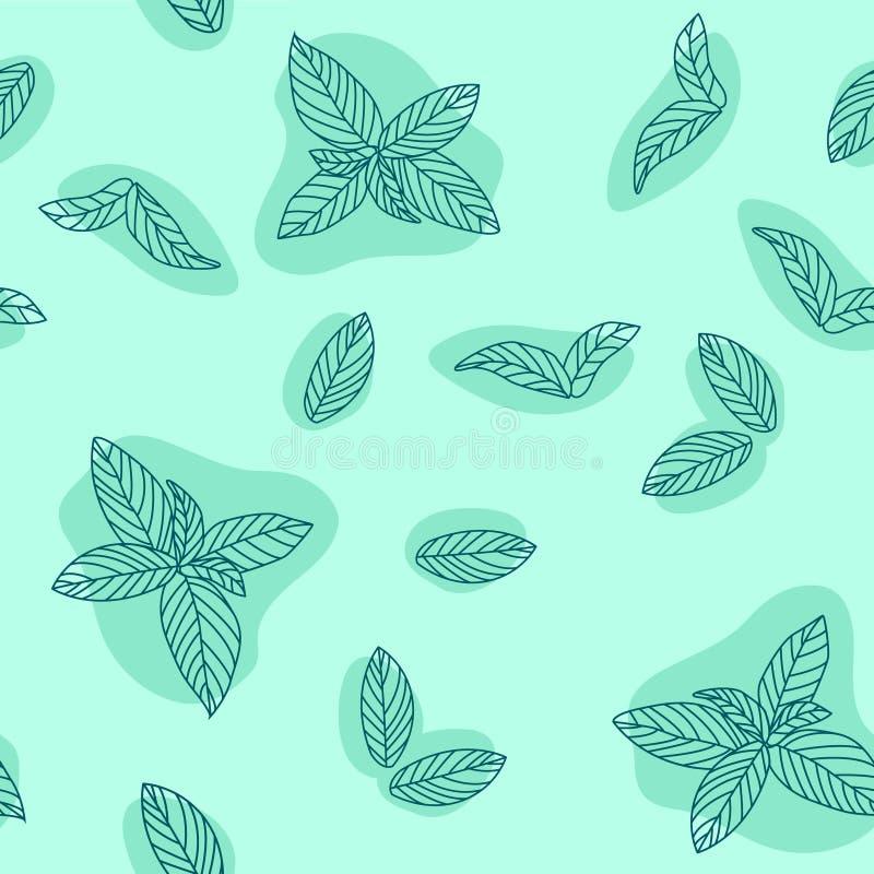Modèle sans couture de vecteur tiré par la main de feuilles en bon état Menthe poivrée, herbes épicées, texture de cuisine, griff illustration libre de droits