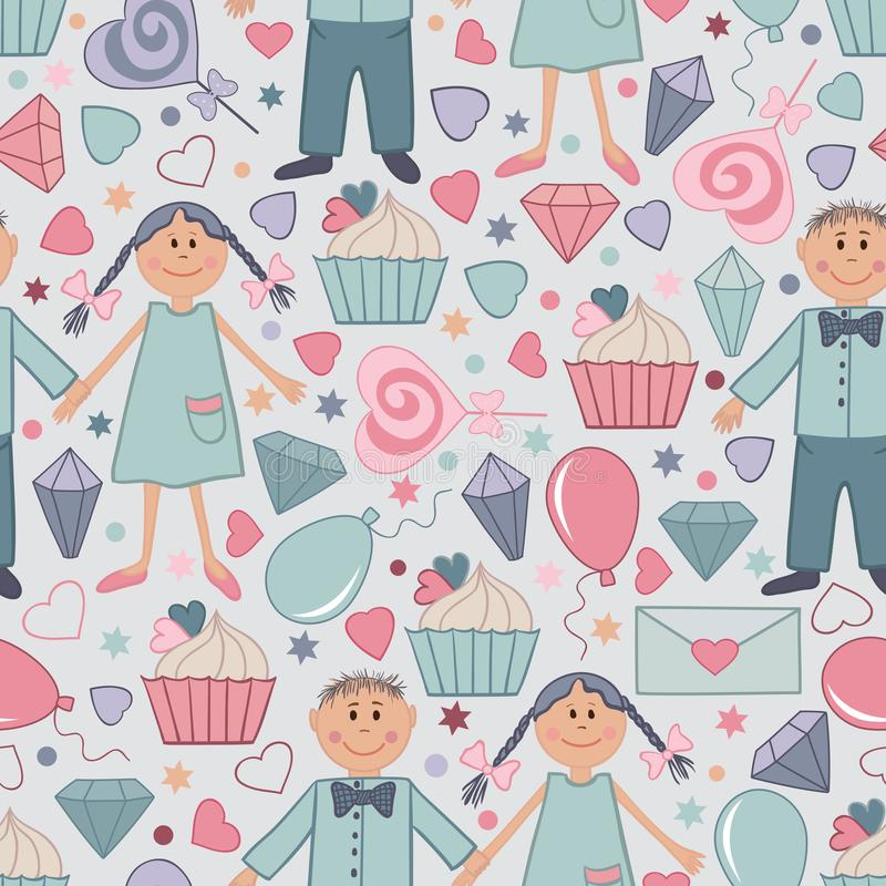Modèle sans couture de vecteur tiré par la main pour le saint Valentine day-04 illustration stock