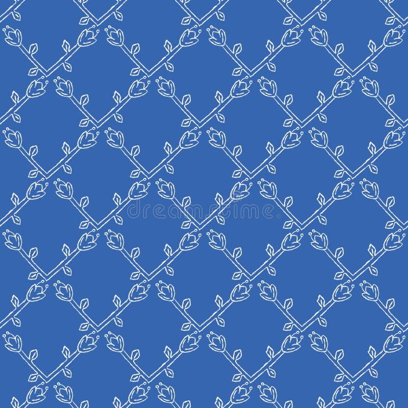 Modèle sans couture de vecteur de treillis stylisé de fleur Grille florale folklorique d'édredon illustration stock