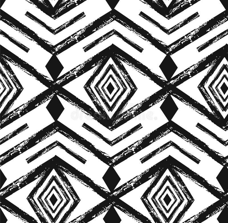Modèle sans couture de vecteur tribal noir de Navajo avec des éléments de griffonnage illustration de vecteur