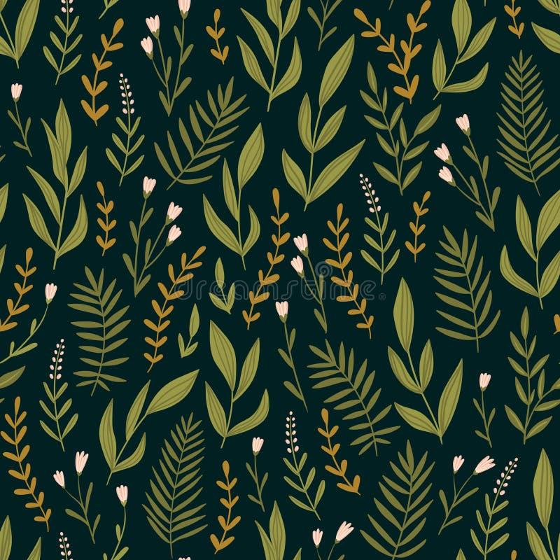 Modèle sans couture de vecteur vert-foncé avec des herbes et des fleurs de nuit Fond floral romantique Conception de tissu illustration stock