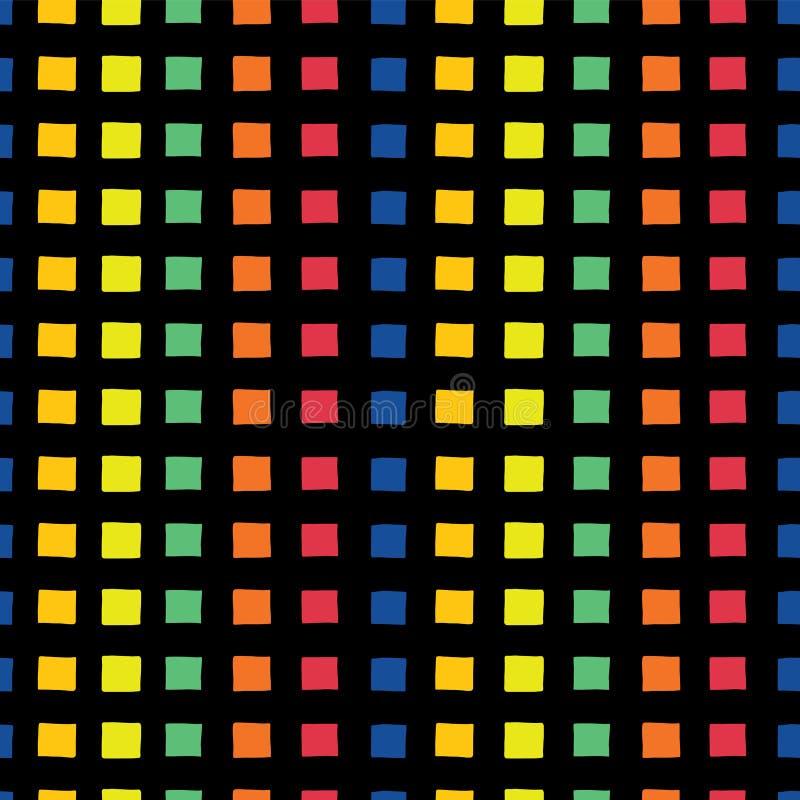 Modèle sans couture de vestor d'arc-en-ciel de trame Places d'orange, jaunes, vertes, oranges, rouges, et bleues tirées par la ma illustration de vecteur