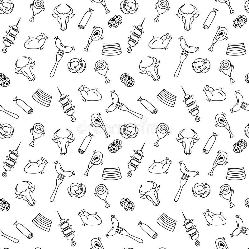 Modèle sans couture de viande artistique tirée par la main pour la page adulte de coloration illustration stock