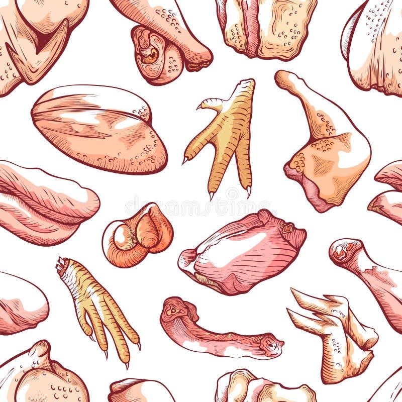 Modèle sans couture de viande de poulet et de volaille organique illustration de vecteur