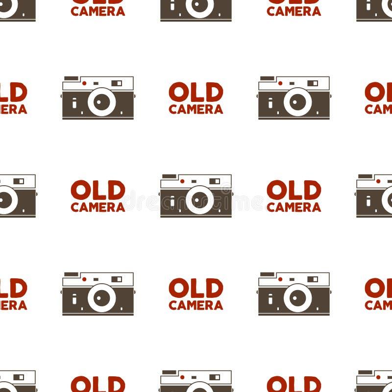 Modèle sans couture de vieil appareil-photo Éléments de photographie de vintage et conception de typographie Fond Illustration illustration libre de droits