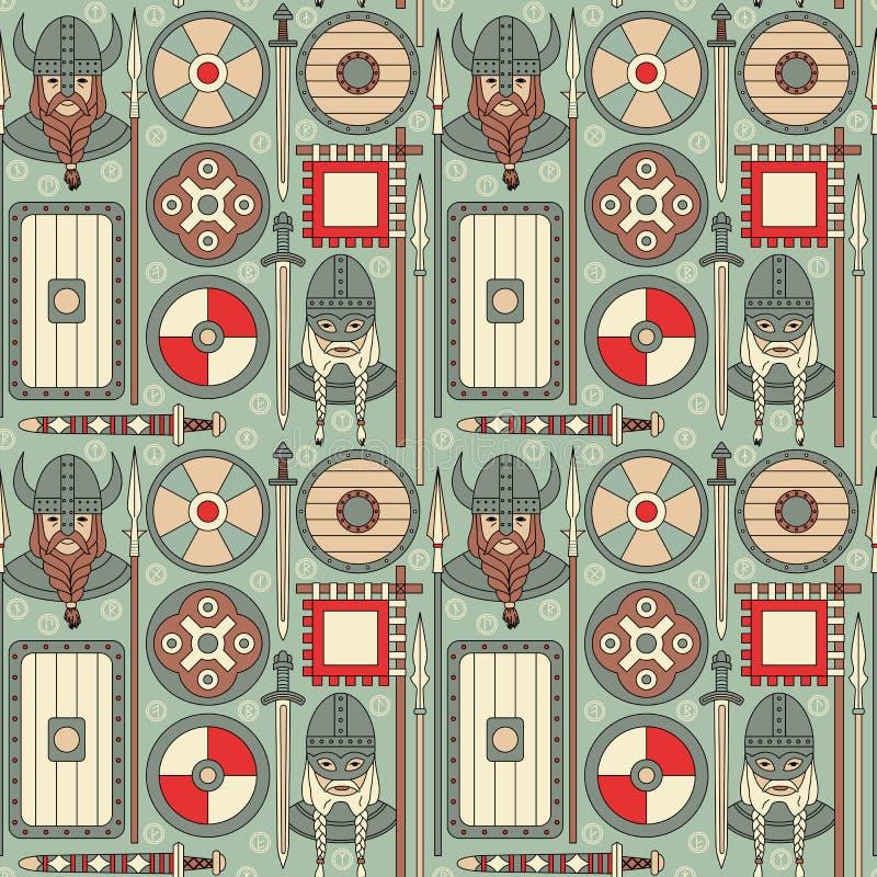 Modèle sans couture 02 de Viking illustration de vecteur
