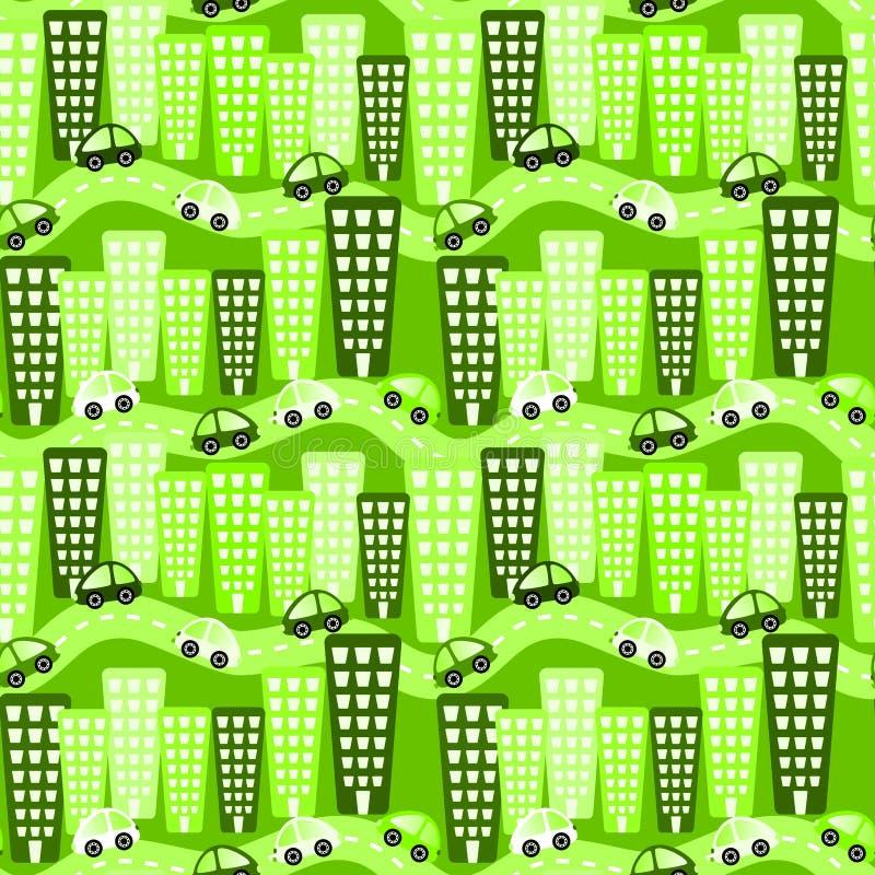 Modèle sans couture de ville écologique illustration de vecteur