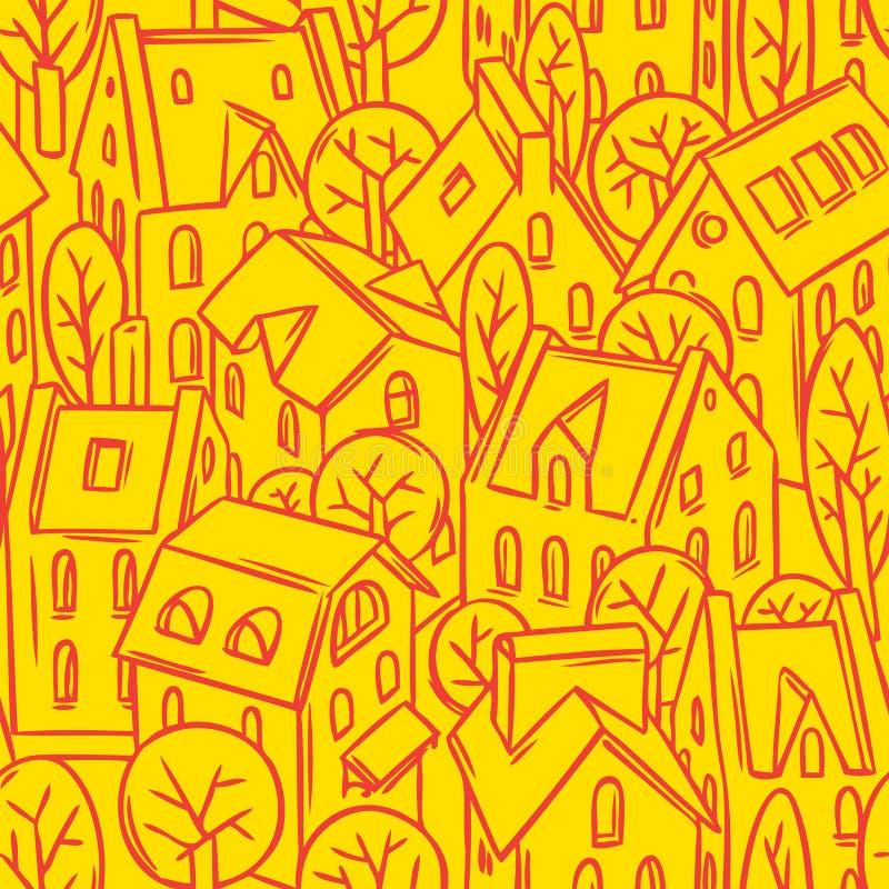 Modèle sans couture de ville avec des toits illustration de vecteur