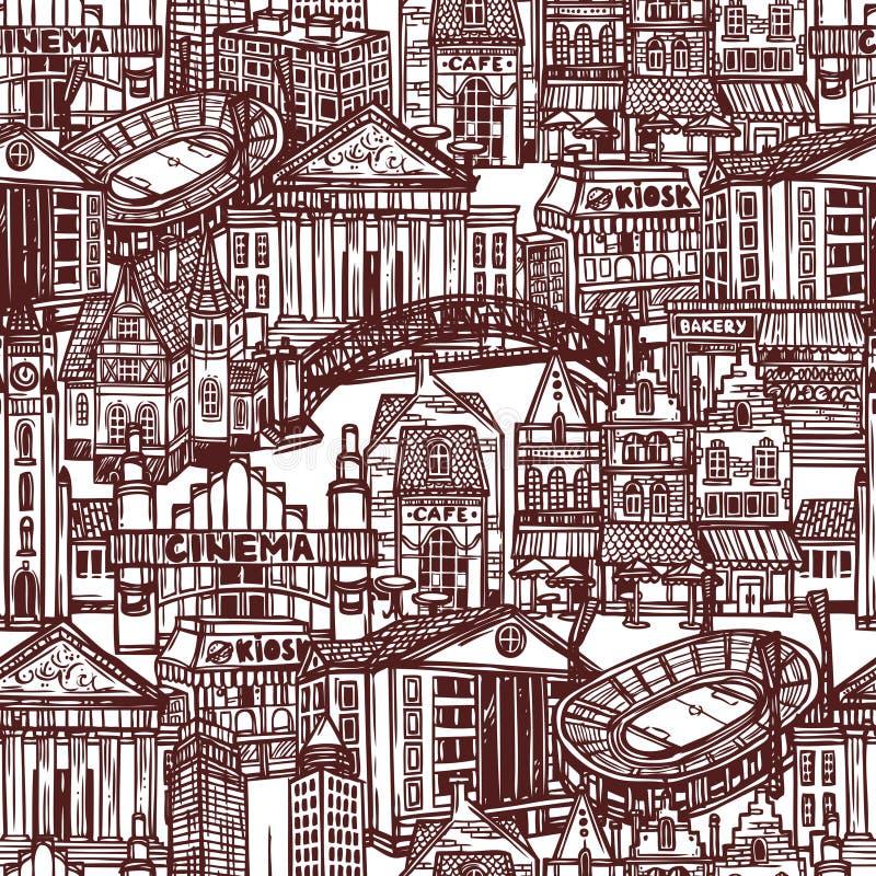 Modèle sans couture de ville de croquis illustration de vecteur