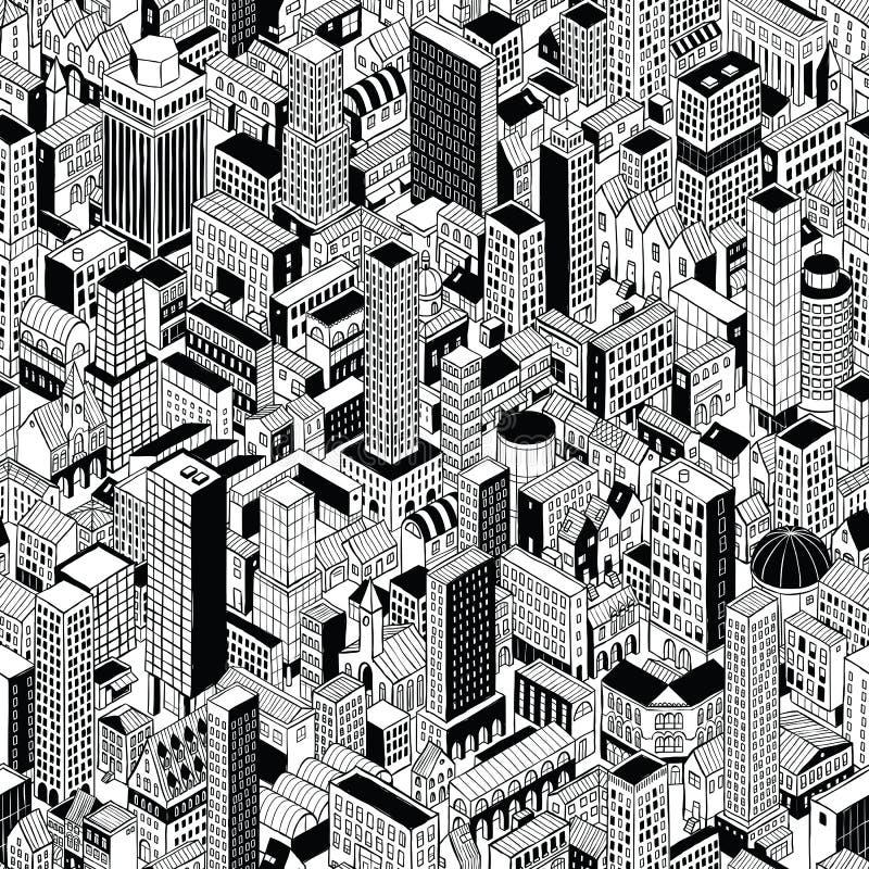 Modèle sans couture de ville générique isométrique illustration de vecteur