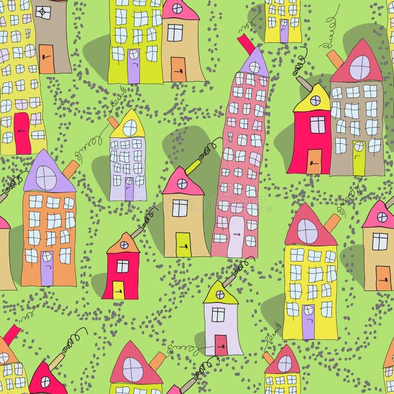 Modèle sans couture de ville tirée par la main de maisons au printemps photo libre de droits