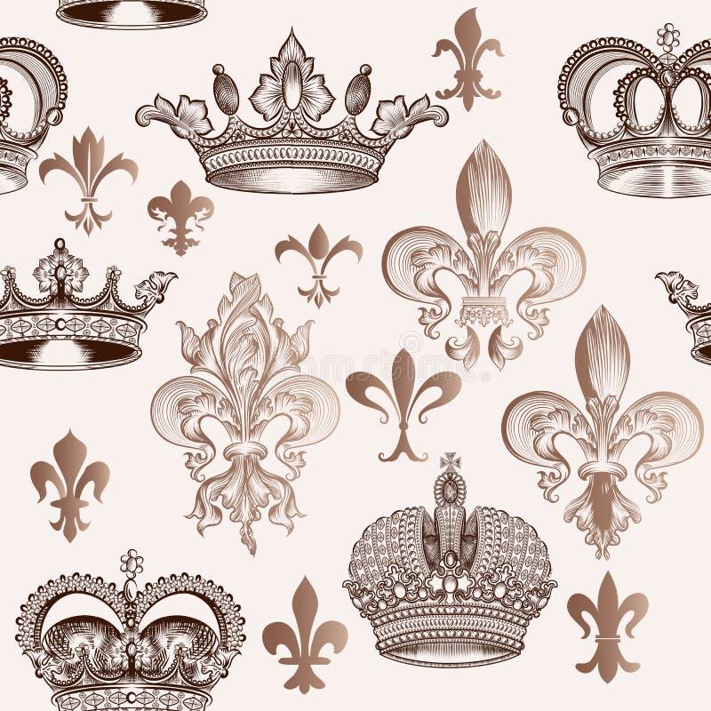 Modèle sans couture de vintage avec des couronnes et fleur de lis pour la conception illustration stock