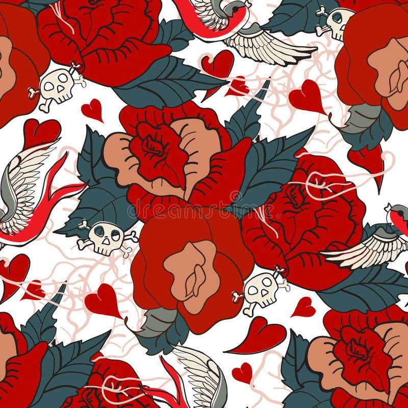 Modèle sans couture de vintage avec des fleurs illustration libre de droits