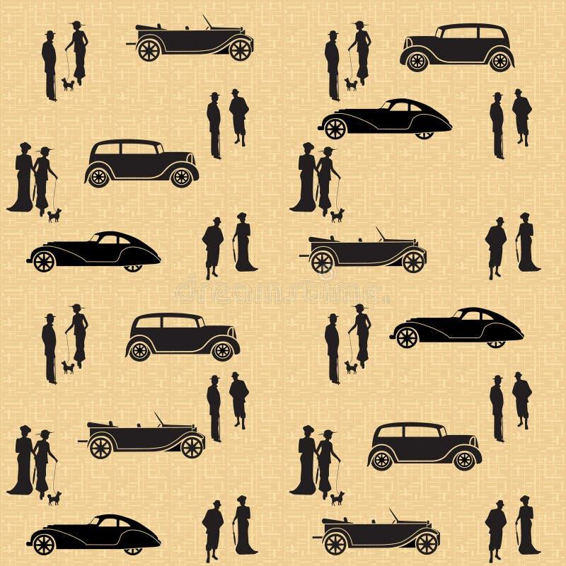 Modèle sans couture de vintage avec des voitures et des personnes illustration stock