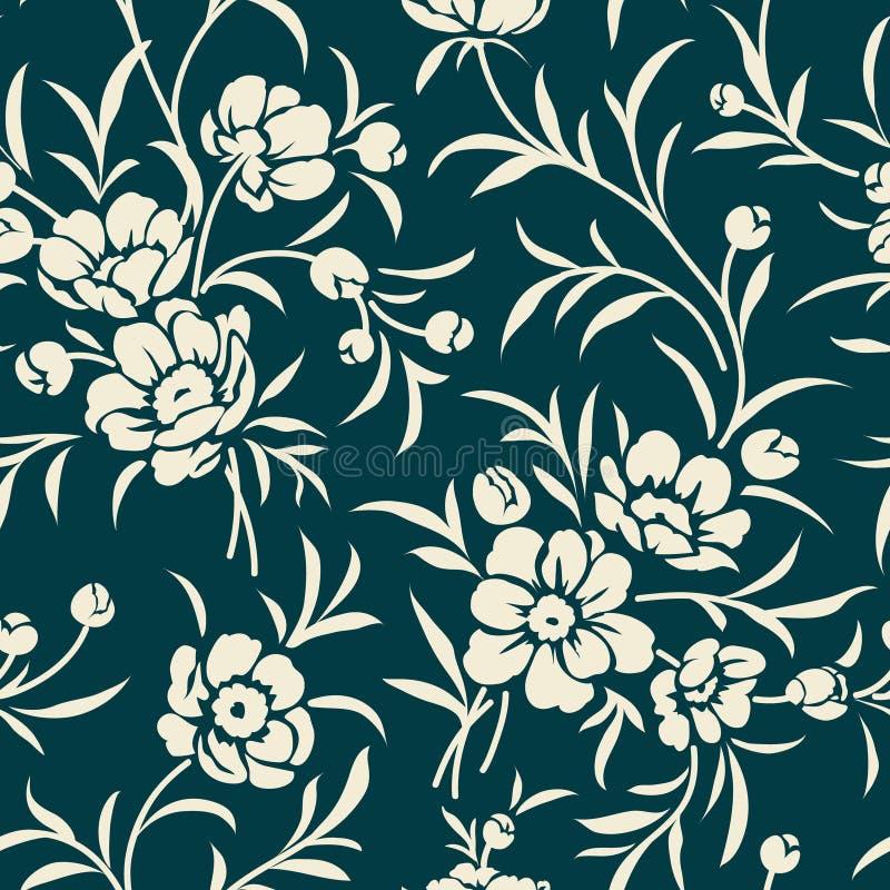 Modèle sans couture de vintage avec la silhouette de pivoine Fond floral illustration stock