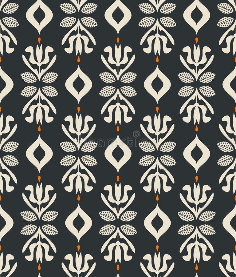 Modèle sans couture de vintage avec les éléments floraux illustration stock