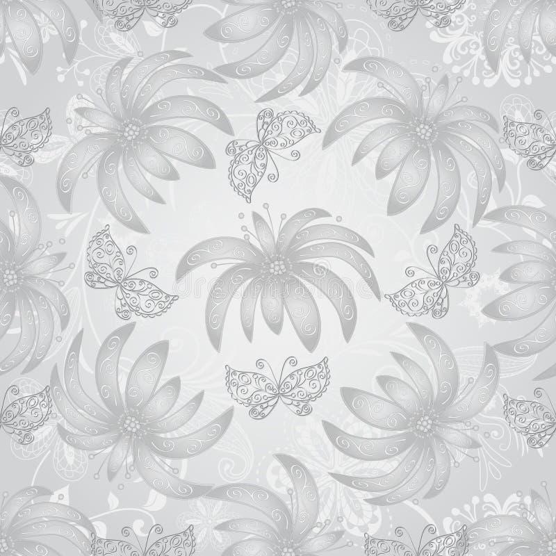 Modèle sans couture de vintage avec les fleurs argentées de gradient illustration libre de droits