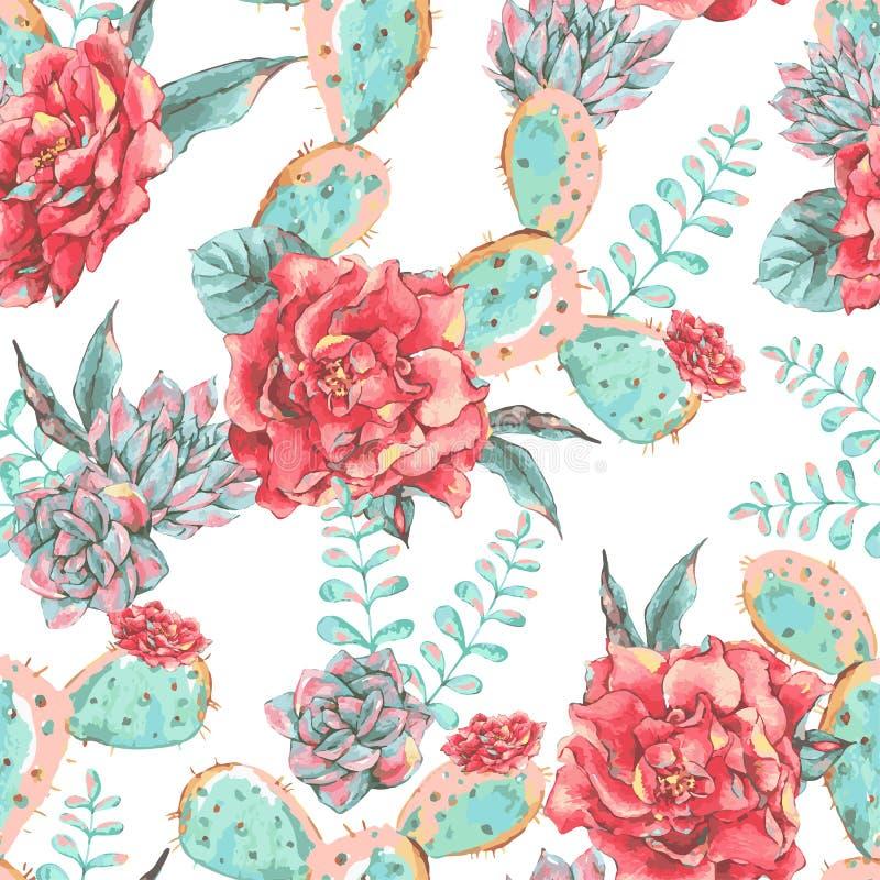 Modèle sans couture de vintage avec les fleurs de floraison illustration de vecteur