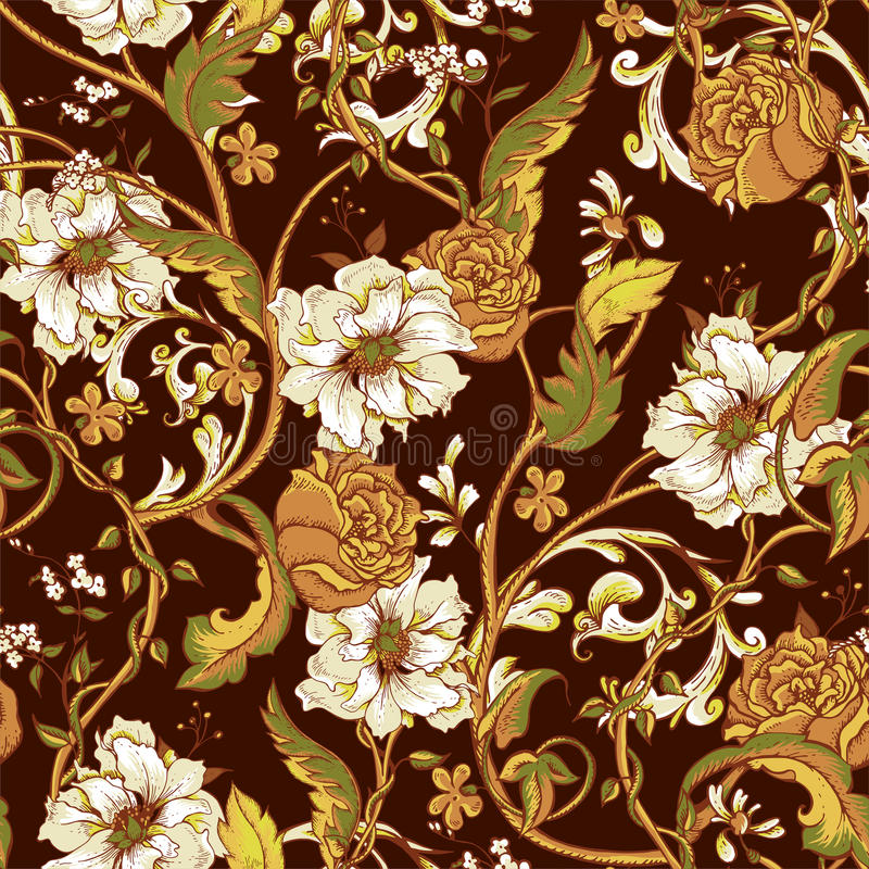 Modèle sans couture de vintage avec les magnolias de floraison illustration stock