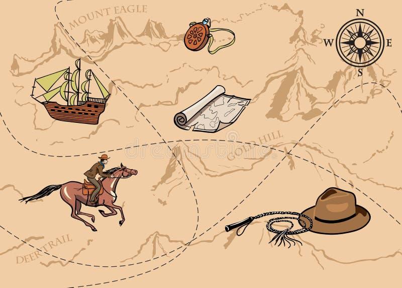 Modèle sans couture de vintage d'aventure de carte La carte du trésor avec le cavalier, les montagnes, les collines, la rivière,  illustration de vecteur